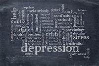 depression word cloud on blackboard