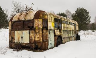 Rusty Caravan in Chernobyl in Wintertime