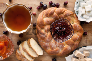 cup of tea with pastry and jam