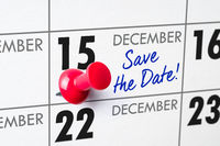 Wall calendar with a red pin - December 15