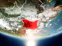 Kenya with sun on planet Earth