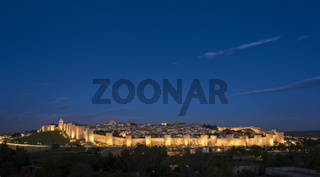 Panoramic view of the historic city of Avila, Castilla y Leon, Spain