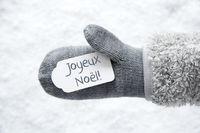 Wool Glove, Label, Snow, Joyeux Noel Means Merry Christmas