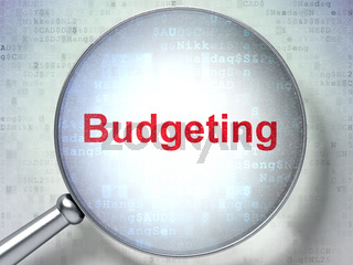 Business concept: Budgeting with optical glass