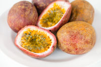 Fresh splitted passion fruits