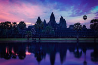 Angkor Wat - famous Cambodian landmark - on sunrise