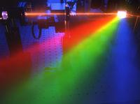 Laserstrahl beugt sich am Prisma in die Spektralfarben