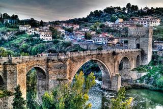 Aerial view to San Martins Bridge and Ragus river, Toledo, Spain