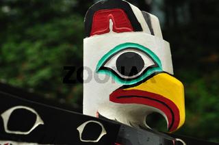 Close-up of Eagle Totem Pole in Juneau
