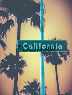 Retro California Sign And Palms