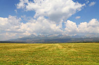 Beautiful landscape with mountains over field