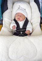 Newborn baby boy sleeping in comfortable car seat