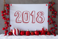 Label, Snow, Christmas Balls, Text 2018