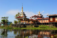 Buddhist temple in village on Inle Lake, Myanmar