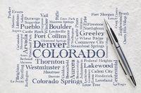major cities of Colorado word cloud on a lokta paper