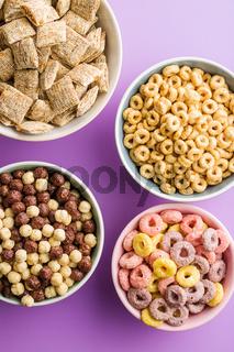 Different breakfast cereals.