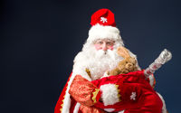 Santa Claus on blue background.