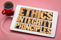 ethics, integrity and principles concept on tablet