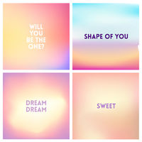 Abstract vector light pink blurred background set. 4 colors set