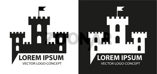 Fortress icon, logo element. Citadel silhouette. Tower or castle isolated on white background. Vector illustration.