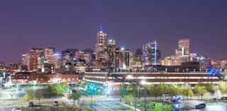 Downtown Denver Colorado City Skyline Urban Cityscape Night Illumination
