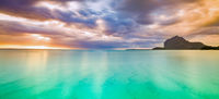 Amazing view of Le Morne Brabant at sunset.Mauritius. Panorama