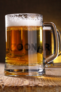 Mug of beer on table