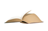 Opened thick book pages isolated on white background. Love read concept. Knowledge symbol. Book day