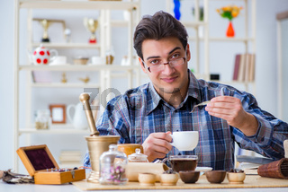 The professional tea expert trying new brews