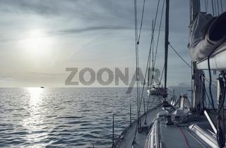 Yacht in the Mediterranean Sea at sunset. Cala Saona in Formentera, Balearic Islands. Spain