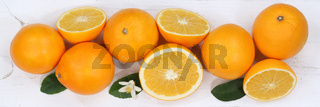 Orangen Orange Früchte Banner von oben