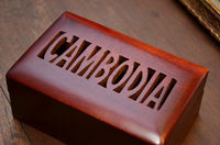 Cambodia on wooden box