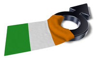 male symbol and flag of ireland - 3d rendering