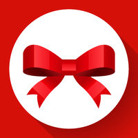 Vector red bow icon Flat style
