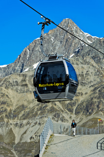 Gondel der Seilbahn Matterhorn Express an der Station Schwarzsee, Zermatt, Wallis, Schweiz