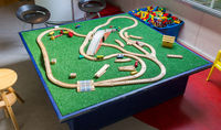 Childrens toy, wooden train track, junction