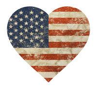 Heart shaped old grunge vintage American US flag