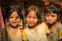 Three girls at Nepali refugee camp in Nepal