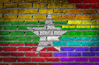 Brick wall texture - Flag of Myanmar with rainbow flag