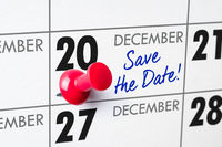 Wall calendar with a red pin - December 20