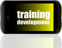 Education and learn concept. Training Development. Detailed modern smartphone