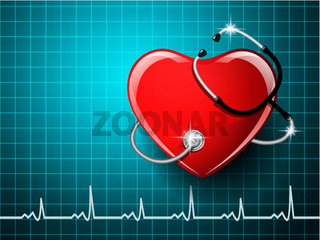 Stethoscope medical equipment with the heart shape.