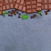 Schokolade Milchschokolade Tafel Schiefertafel quadratisch Essen Textfreiraum von oben