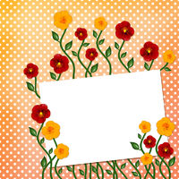 Sheet with flowers on polka dot background