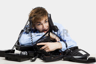 wrapped in telephones