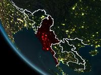 Satellite view of Myanmar at night