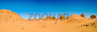Sunset view to Nuri pyramids in desert, Napata Karima region , S