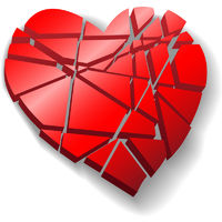 Shattered red Valentine heart broken to pieces