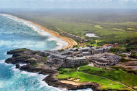 Aerial view of the unfinished hotel on the Atlantic coast. Punta Cana