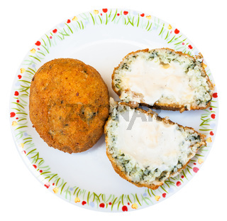 top view of stuffed rice balls arancini on plate